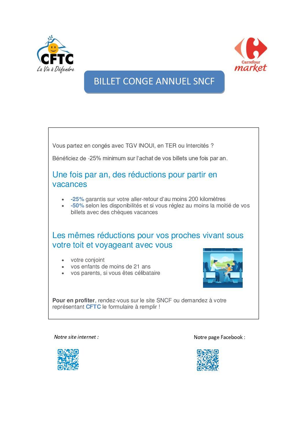 Billet de congé annuel SNCF