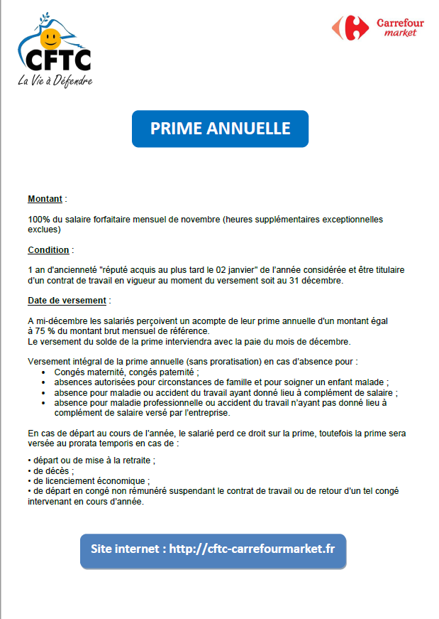 PRIME ANNUELLE