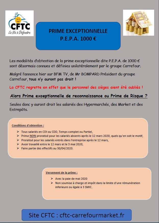 Modalités d'attribution de la prime de 1000€ dite P.E.P.A