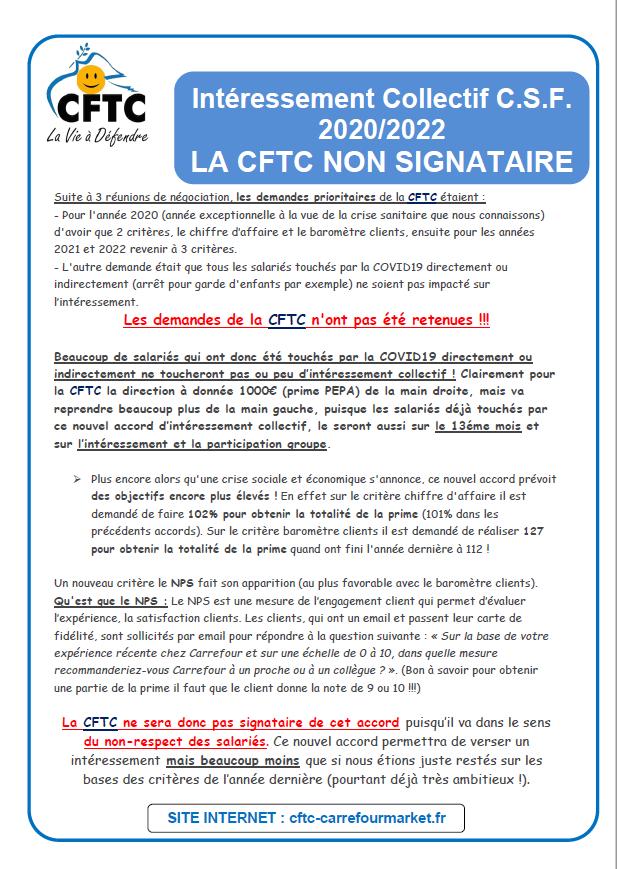 Intéressement collectif 2020-2022: La CFTC NON SIGNATAIRE