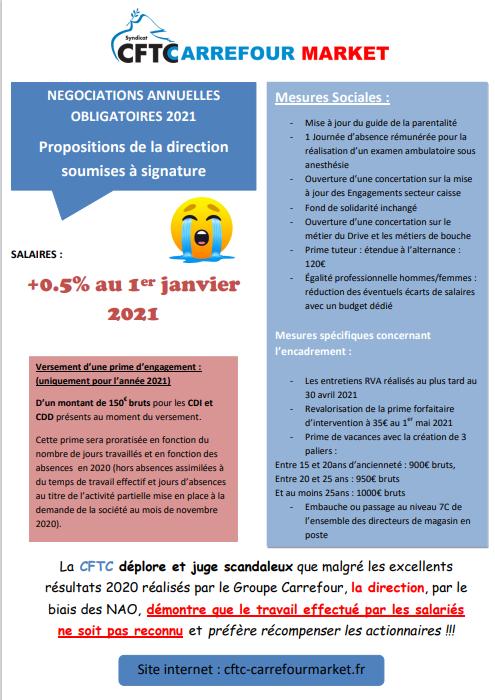 NAO 2021 : dernières propositions de la direction